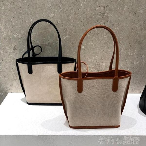 手提包 包包2020新款韓國ins拼接麻料手拎子母包手提單肩敞口女包購物袋 茱莉亞