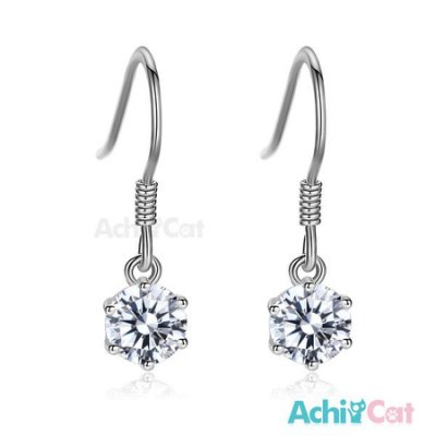 925純銀耳環 AchiCat 純銀飾 完美吸引力 5mm 擬真鑽 GS6136