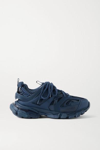 Balenciaga - Track 品牌标志细节网眼橡胶运动鞋 - 海军蓝 - IT36