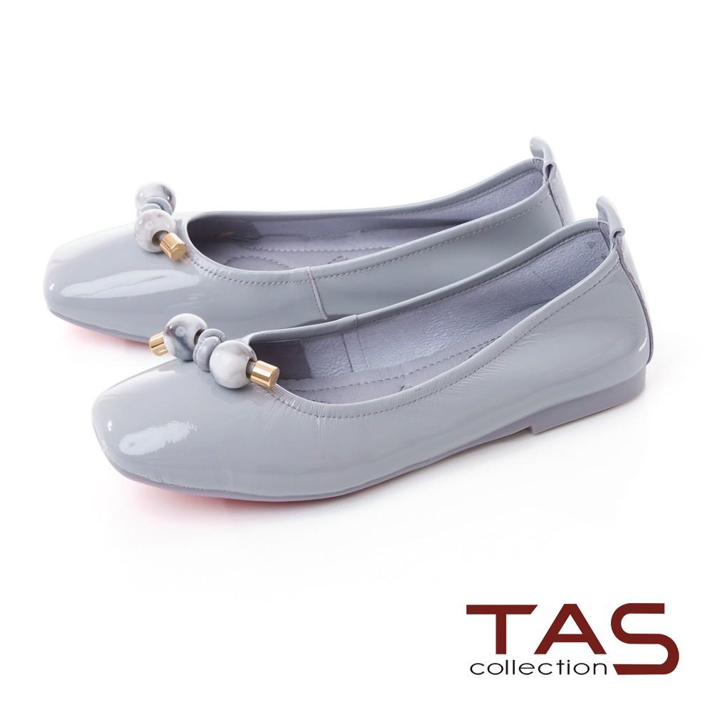 TAS鑲崁串珠漆皮娃娃鞋-天空藍