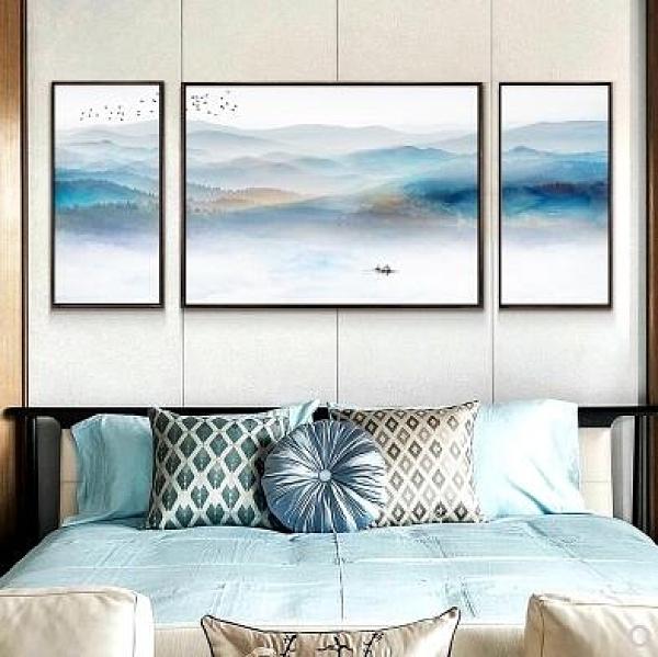 新中式客廳裝飾畫沙發背景牆抽象水墨書房三聯畫背靠金山牆畫