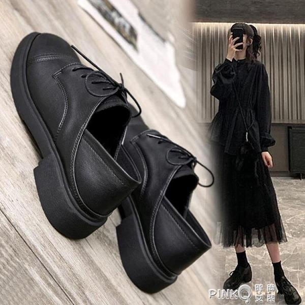 小皮鞋女夏季平底百搭軟底軟皮配裙子中跟黑色秋款舒適英倫風 pinkQ 時尚女裝