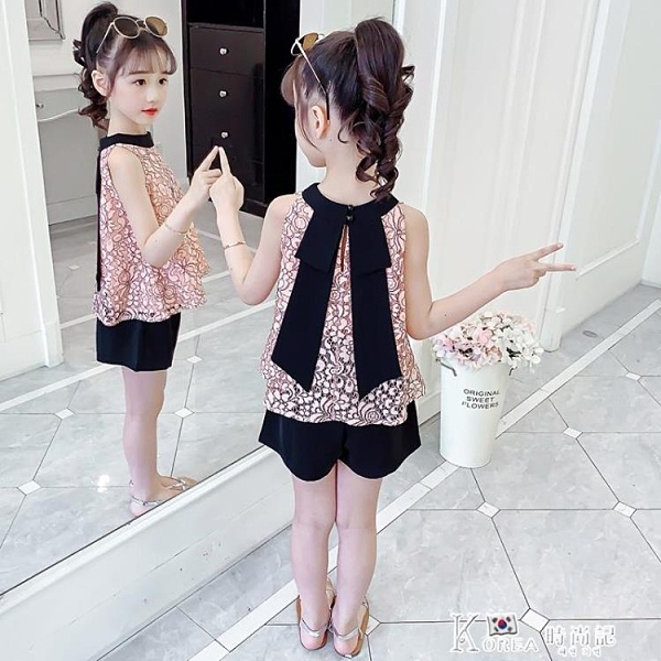 女童套裝-女童夏裝洋氣套裝2021年新款兒童大童夏季時髦女孩網紅兩件套童裝