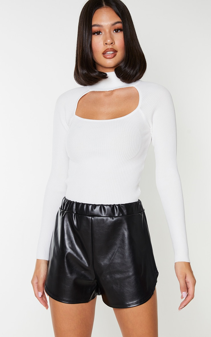 Black Faux Leather Runner Shorts