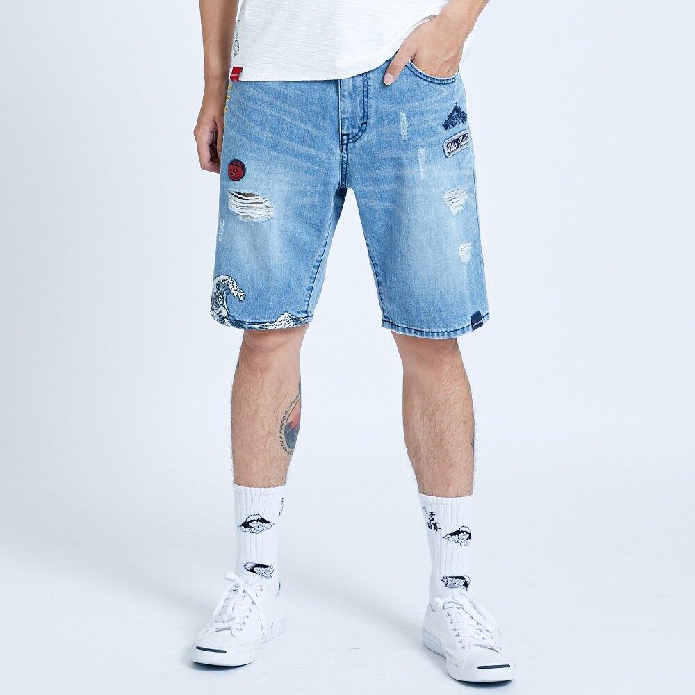 【滿額領券折$150】新品↘EDOKATSU江戶勝 基本合身微破牛仔短褲-男款 重漂藍 SHORTS
