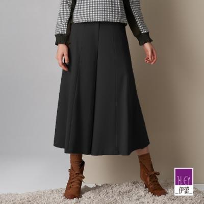 ILEY伊蕾 微彈斜紋八分寬褲裙(黑)