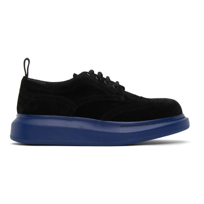 Alexander McQueen SSENSE 独家发售黑色 and 蓝色 Hybrid 布洛克鞋