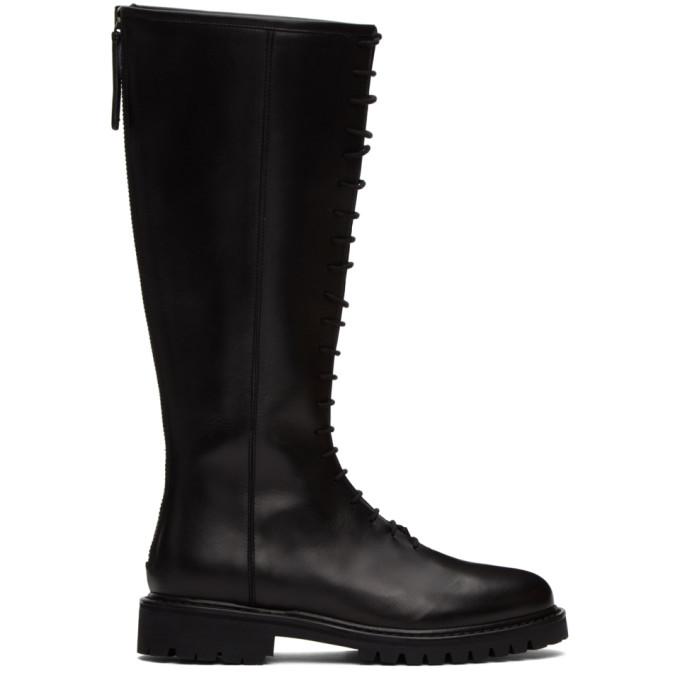 Legres 黑色军风高筒靴