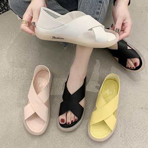 魚口鞋 涼鞋女2021新款平底軟底拖鞋女百搭防滑孕婦牛筋底孕婦媽媽魚嘴鞋  卡洛琳
