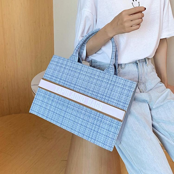 托特包時尚大包包2021新款潮網紅格紋手提包高級感洋氣腋下包韓版托特包 童趣屋 交換禮物