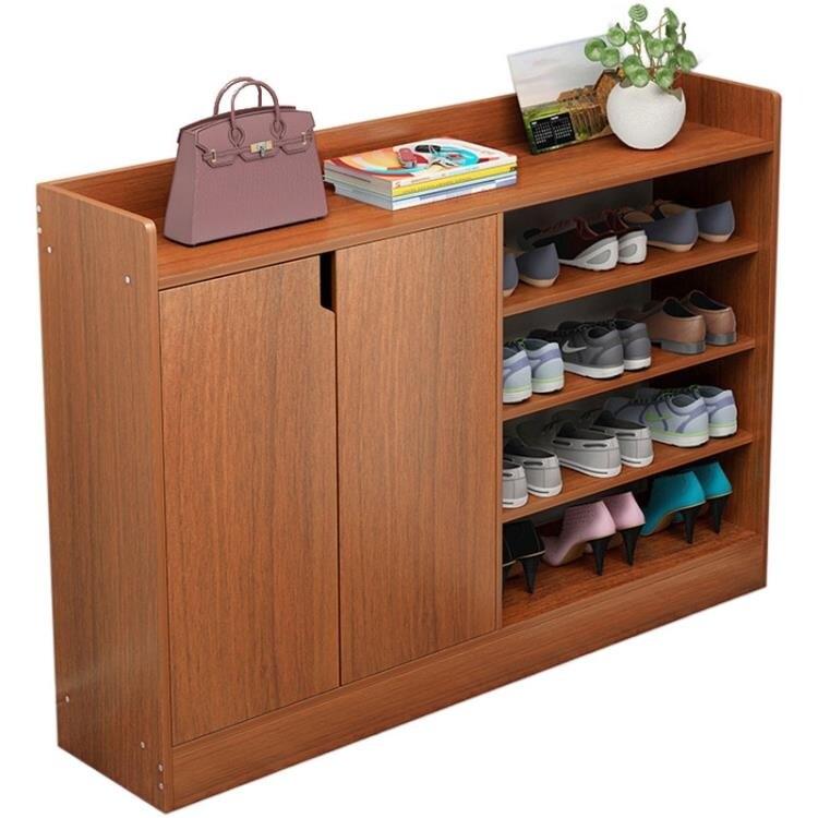 鞋櫃 鞋架家用門口實木色大容量多層防塵經濟型進門簡易鞋櫃收納置物架 夢藝