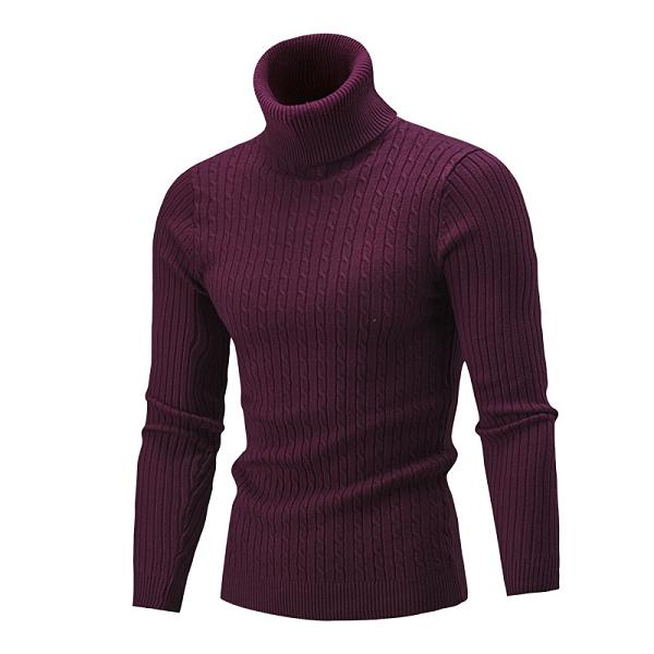 高領休閒純色鏈男生針織衫 男生毛衣長袖加厚 韓版男士毛衣上衣 運動男裝修身秋冬保暖打底衫