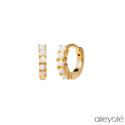 ALEYOLE 優雅迷你蛋白石925純銀鍍18K金耳環 GLACIER GOLD