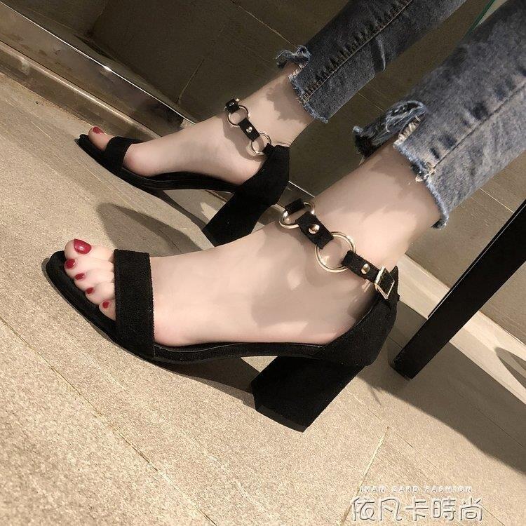 2020夏季新款韓版百搭一字扣帶粗跟黑色高跟鞋露趾包跟羅馬涼鞋女  樂樂百貨