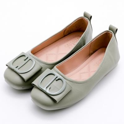 River&Moon平底鞋 造型朵結扣飾Q軟膠底娃娃鞋 綠
