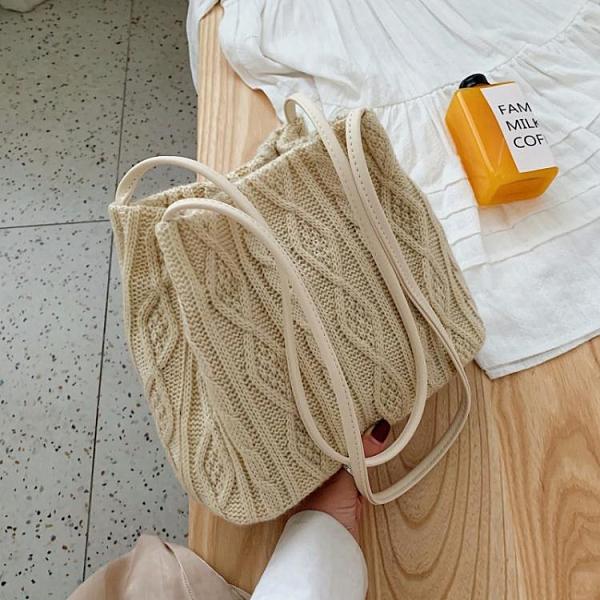 編織包ins超火包包女包2021夏季新款潮時尚編織側背包網紅大容量水桶包 雲朵走走
