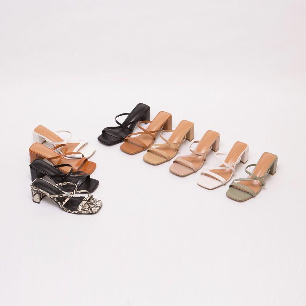 Grace gift- Z字細帶高跟涼拖鞋(黑+黑壓紋+淺綠+咖壓紋+卡其)