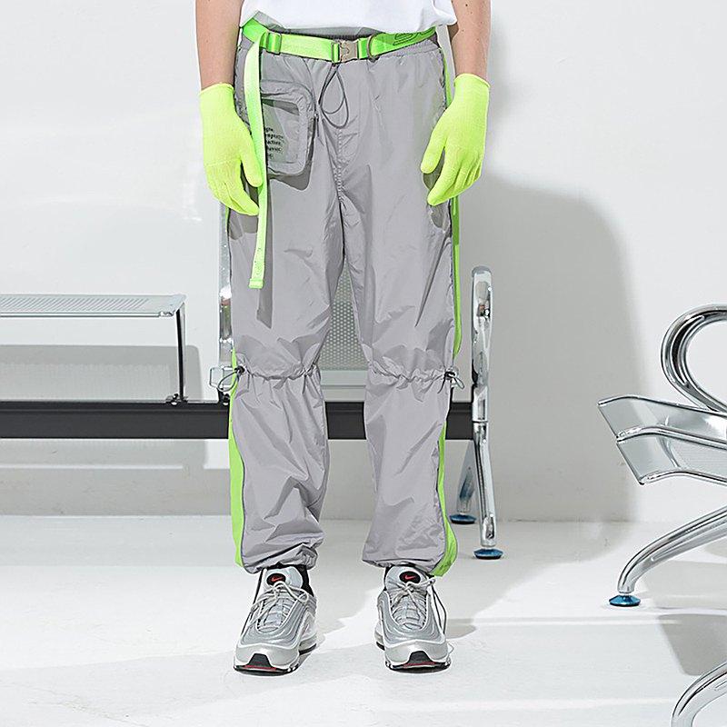 SIDEEFFECT TRACK PANTS 拼色抽繩收口灰色運動褲休閒長褲