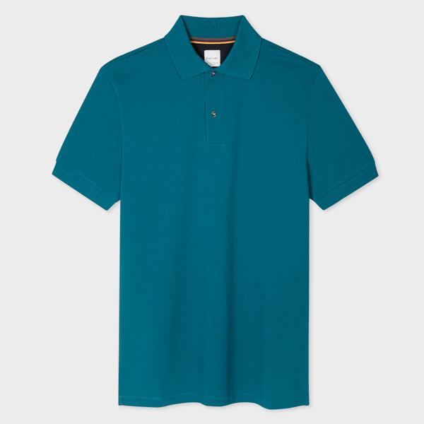Men's Teal Cotton-Piqué Polo Shirt With Charm Buttons