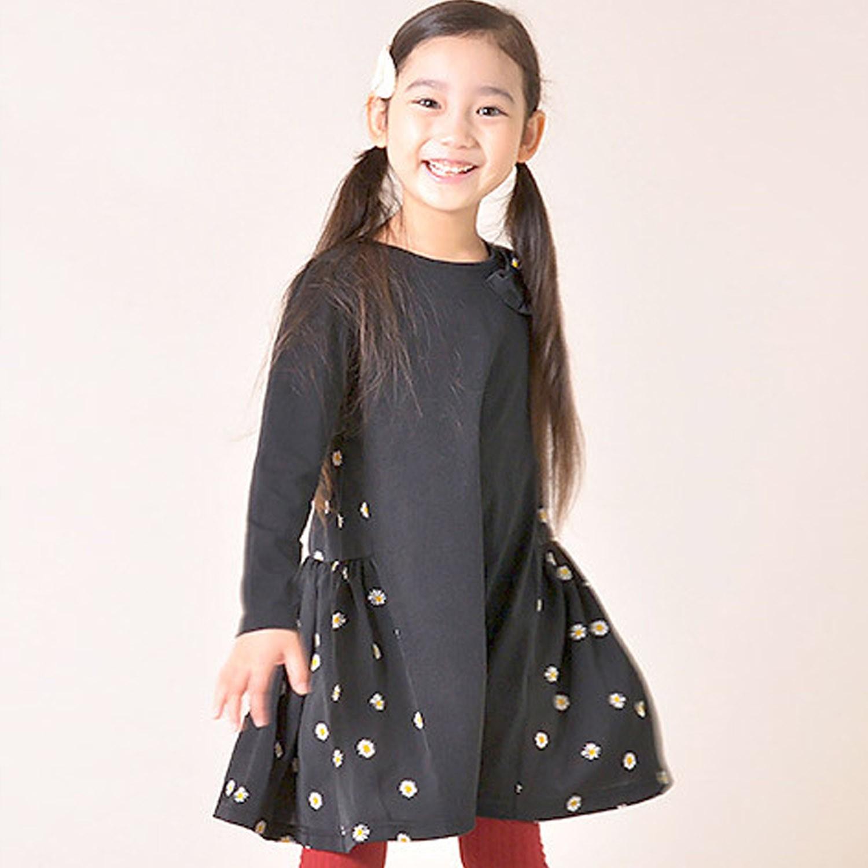 日本 TORIDORY - 雙側拼接小雛菊長袖洋裝-黑