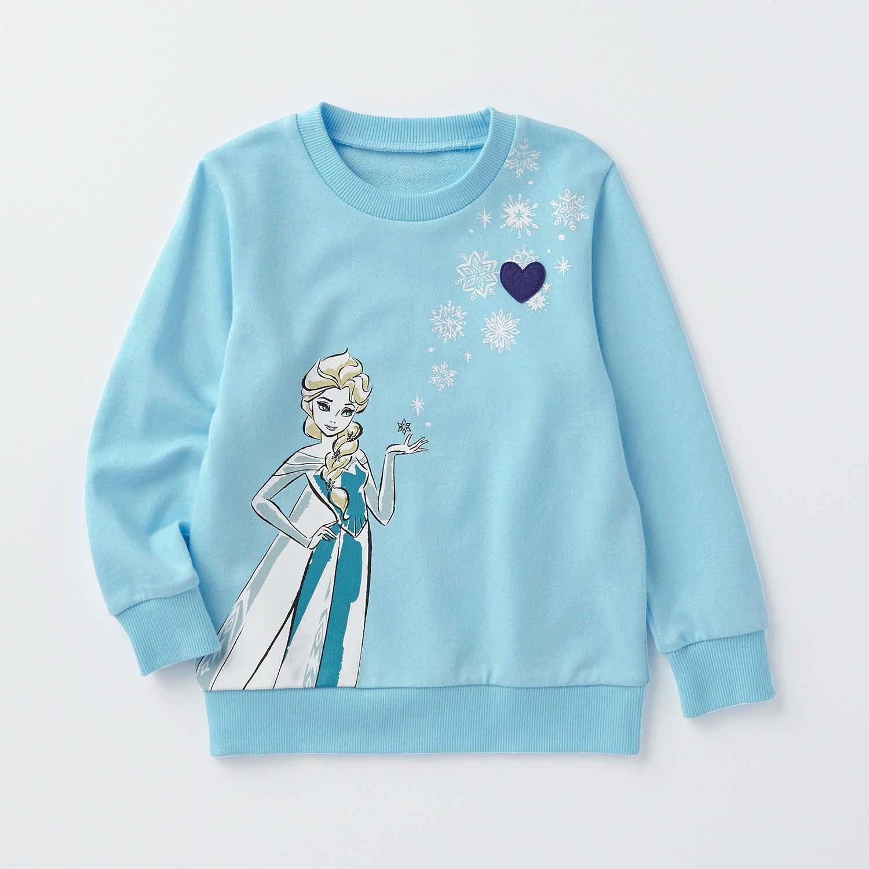 日本千趣會 - 迪士尼裏毛長T-冰雪艾莎-水藍