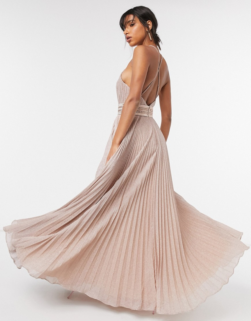 Forever Unique pleated high neck maxi dress in pink