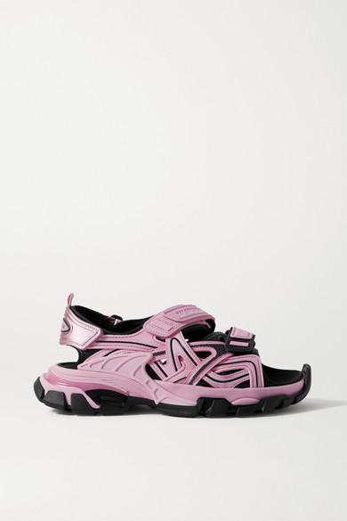 Balenciaga - Track 品牌标志细节皮革橡胶凉鞋 - 粉红色 - IT35