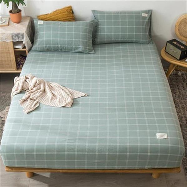 單件水洗床笠純棉床罩床套防滑固定保護床墊雙人床包樂淘淘