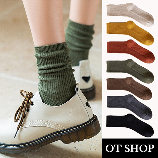 OT SHOP[現貨]襪子 中筒襪 運動襪 純棉 素色坑條紋 百搭學院風 黑/深灰/咖/磚紅/薑黃/草綠/米 M1088