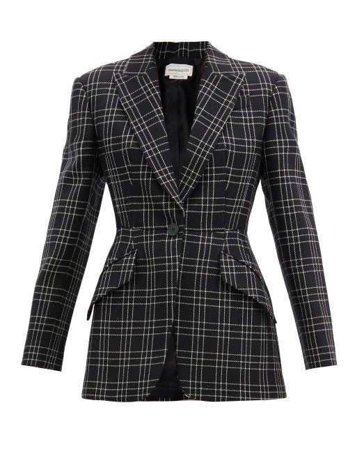 Alexander Mcqueen - Single-breasted Check Wool-twill Jacket - Womens - Black White