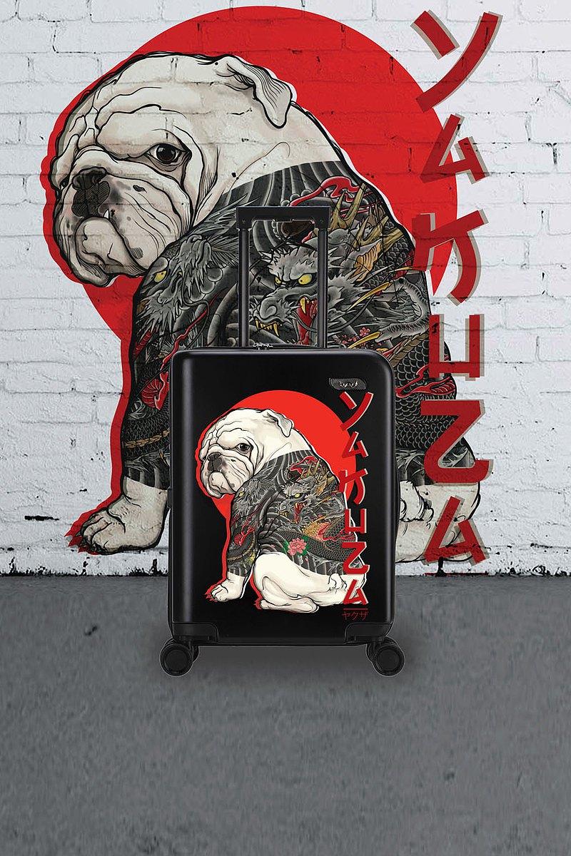20英寸黑色龍紋紋身狗手提箱