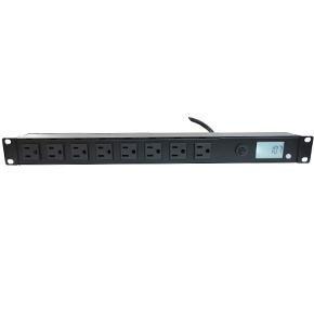 【雅虎A店】1U-PDU 8孔插座 機架橫式電源 20A 全功能LCD電表 防突波 負載跳脫重置 機櫃電源 PDU