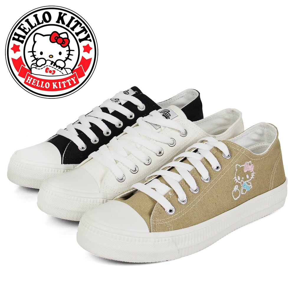 【HELLO KITTY】可愛刺繡凱蒂貓綁帶造型平底休閒帆布鞋/小白鞋N-2A136