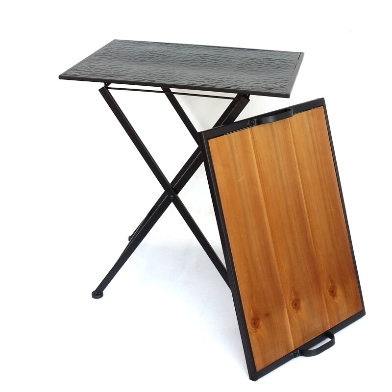 decobox北歐工業風柚木色托盤折合桌(邊桌, 床尾桌, 迎賓桌)