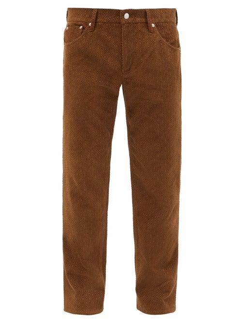 Séfr - Sin Diamond-jacquard Cotton Straight-leg Trousers - Mens - Brown