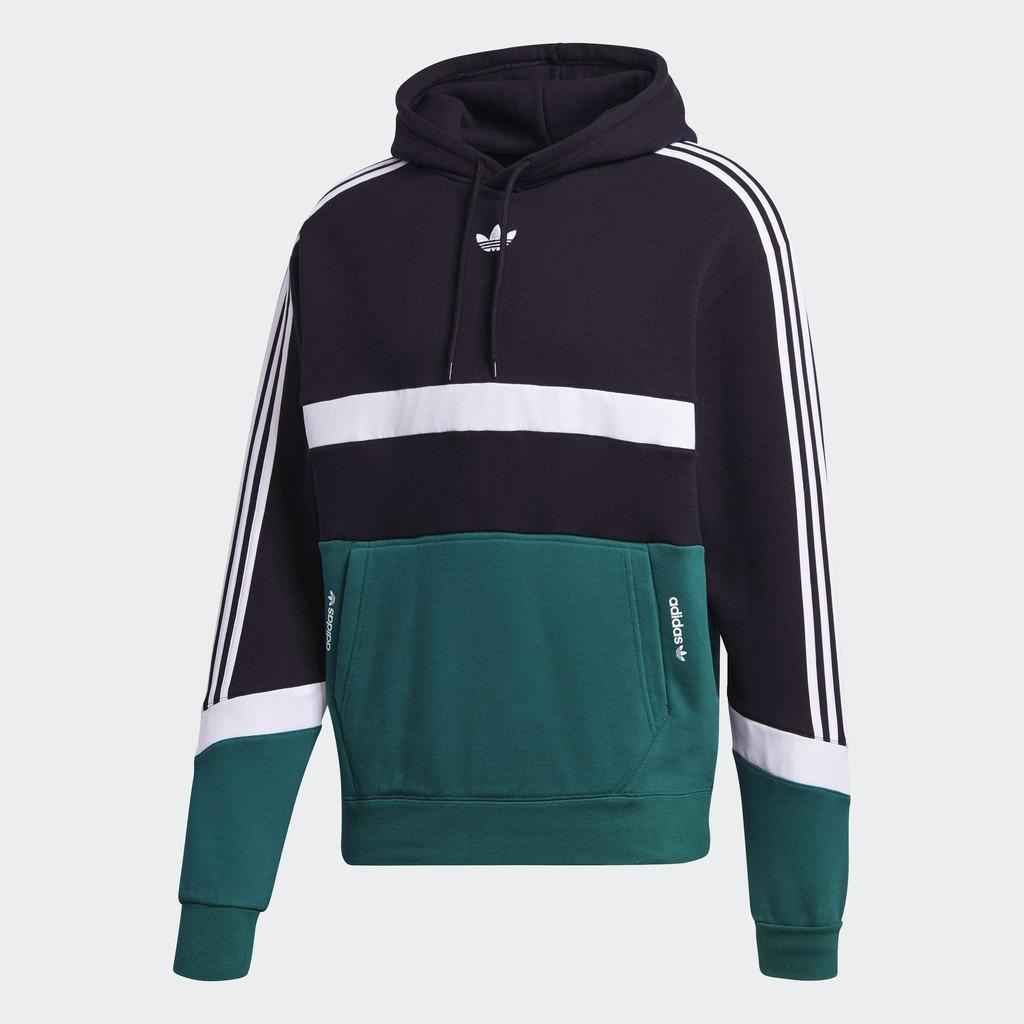 Adidas ORIGINALS SPRT男裝 長袖 連帽 休閒 帽T 純棉 撞色 三葉草 黑綠【運動世界】GJ6718