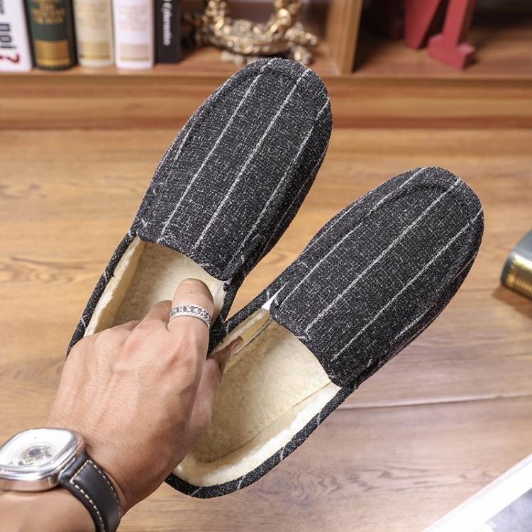 冬季加絨豆豆鞋男保暖棉鞋懶人鞋韓版潮流休閒布鞋社會小伙一腳蹬♠極有家♠