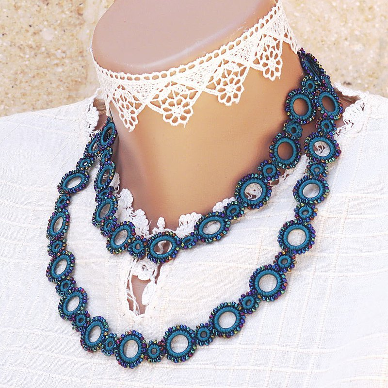 90cm Lariet珠環水藍色