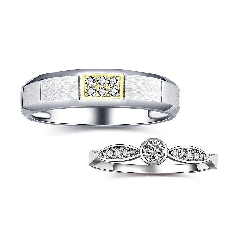幸福時光 鑽石白鋼求婚結婚對戒-戒圍加大不加價-可單買洽設計師