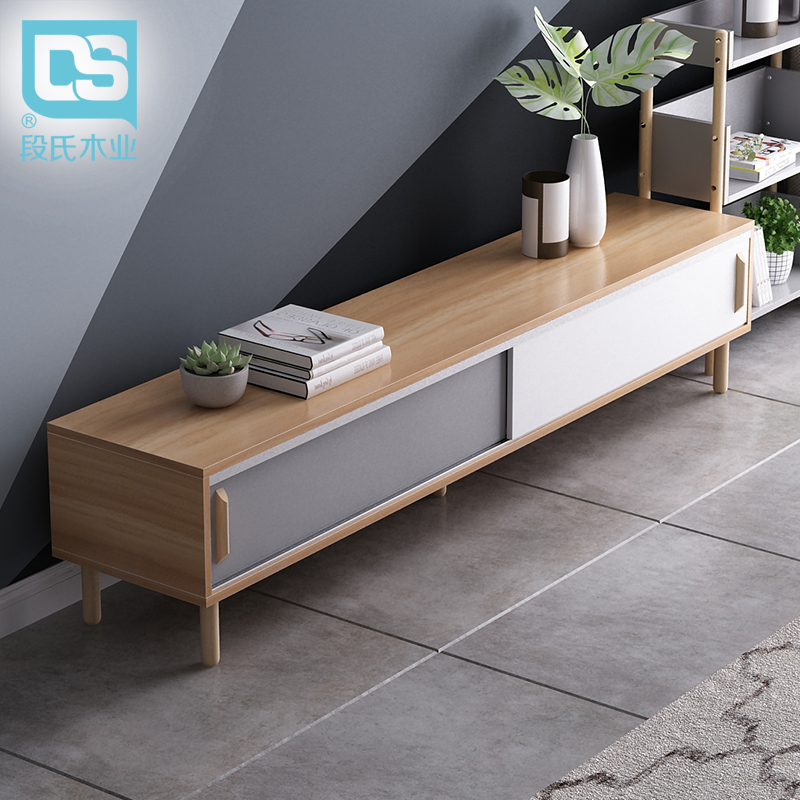 ins北歐實木電視柜茶幾套裝小戶型日式家具簡約現代客廳機柜