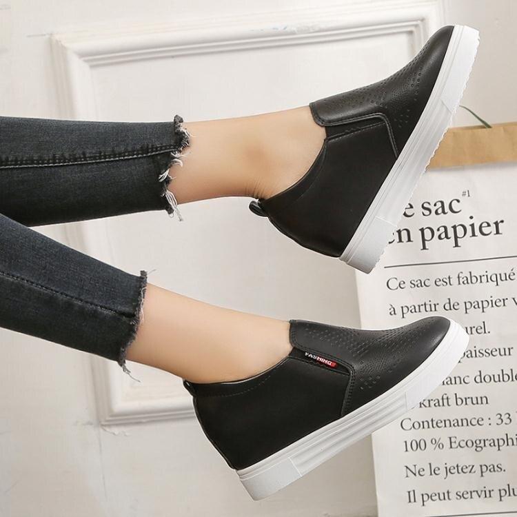 內增高樂福鞋單鞋一腳蹬女鞋2020夏季新款鞋子高跟厚底休閒鞋春秋 萬聖節