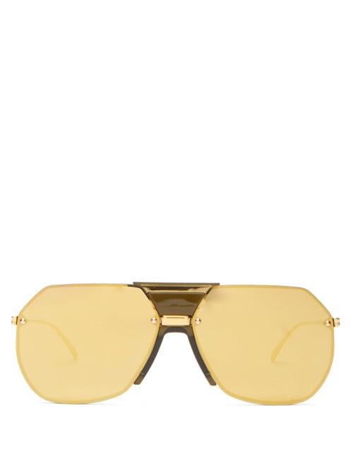 Bottega Veneta - Aviator Metal Sunglasses - Womens - Gold