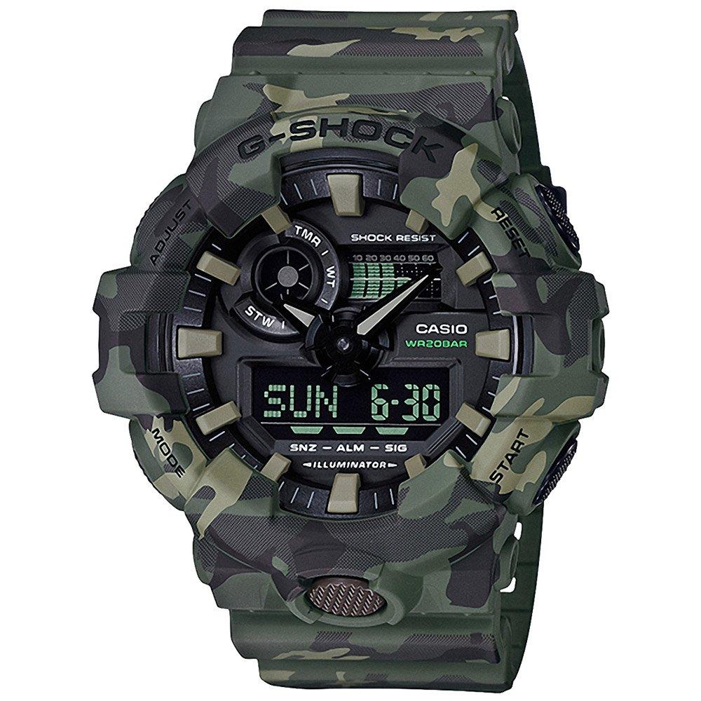 【CASIO卡西歐】G-SHOCK 強悍流行迷彩風格雙顯腕錶-軍綠 (GA-700CM-3A)