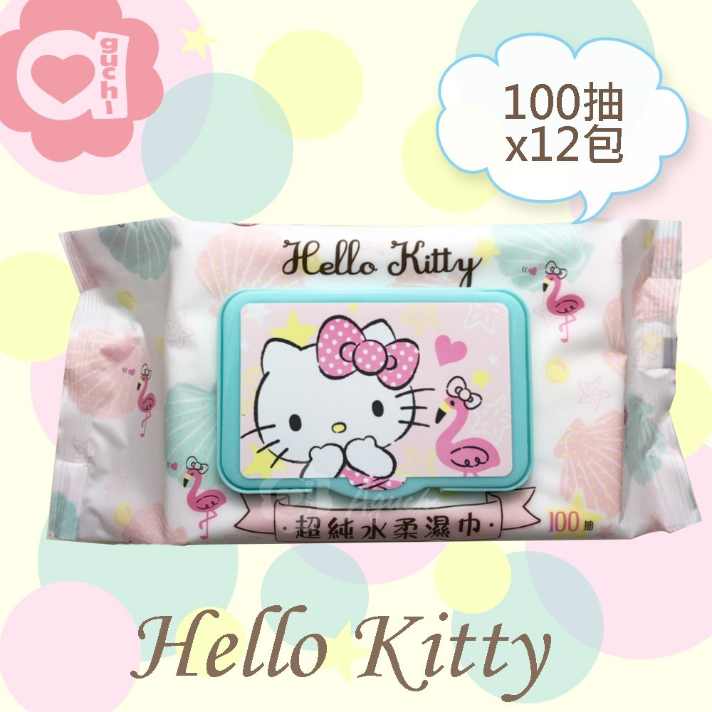 Hello Kitty 凱蒂貓超純水有蓋柔濕巾/濕紙巾(加蓋)100抽 X 12 包 特選柔軟水針布