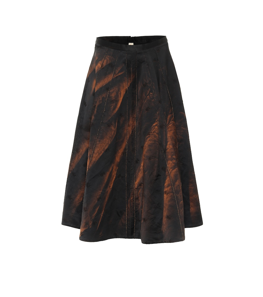 Cotton-blend midi skirt