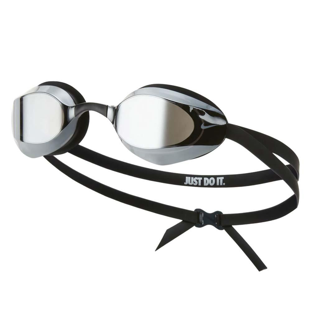 NIKE SWIM 成人專業型鏡面泳鏡-抗UV 防霧 蛙鏡 游泳 戲水 黑白 F