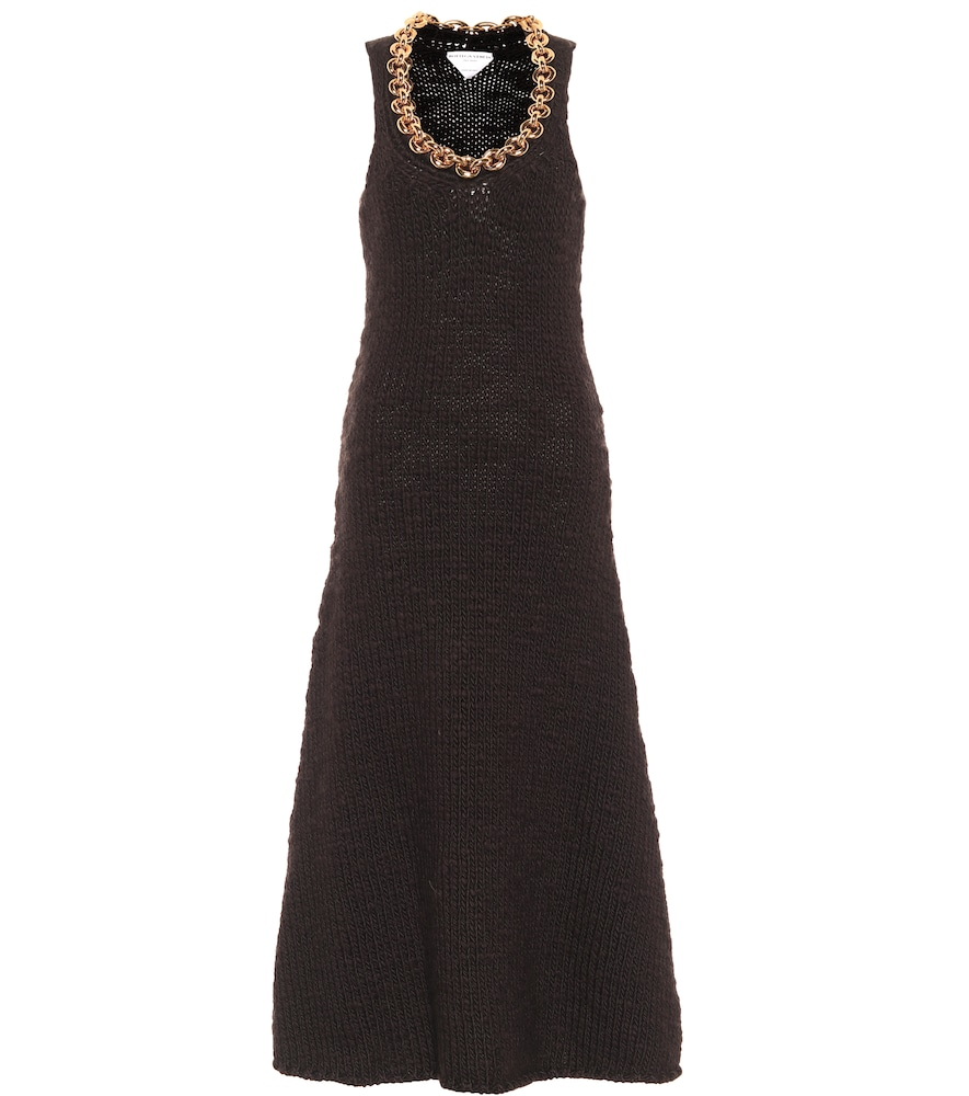 Chain-trimmed wool-blend midi dress