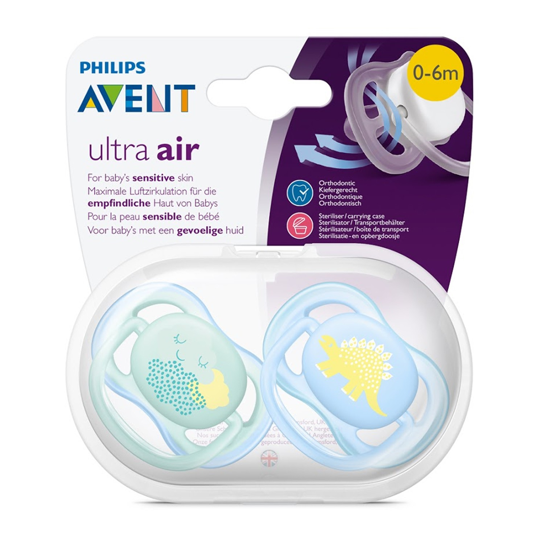 PHILIPS AVENT 新安怡 - 超透氣安撫奶嘴0-6M (雙入)-藍色