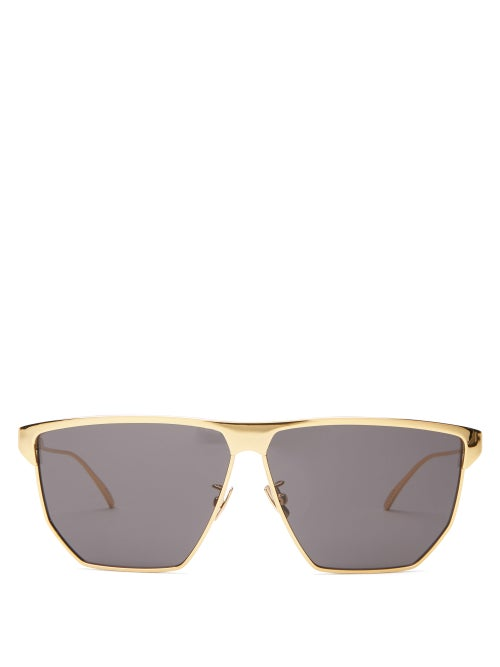 Bottega Veneta - D-frame Metal Sunglasses - Womens - Gold