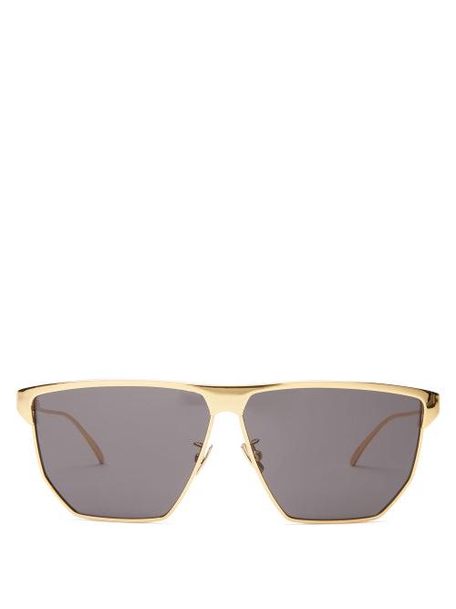 Bottega Veneta - D-frame Metal Sunglasses - Womens - Gold